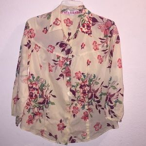 Van Heusen Floral Button Up Blouse Size Large